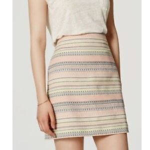 LOFT Jacquard Shift Pastel Chevron print skirt